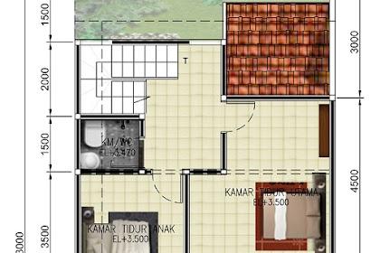 Desain denah berwarna photoshop rumah lantai 2