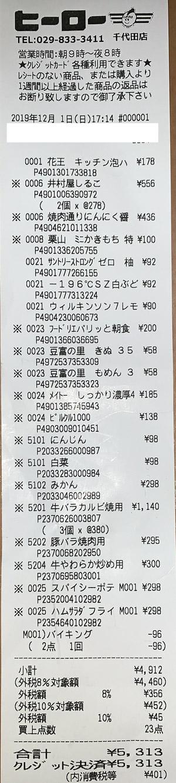 ヒーロー 千代田店 2019/12/1 のレシート