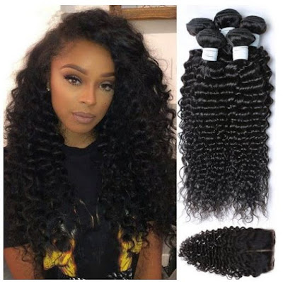 Lace Closure + Brazilian Virgin Deep Wavy Hair by Etino