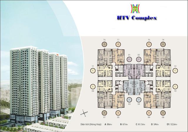 Mặt bằng căn hộ chung cư HTV Complex