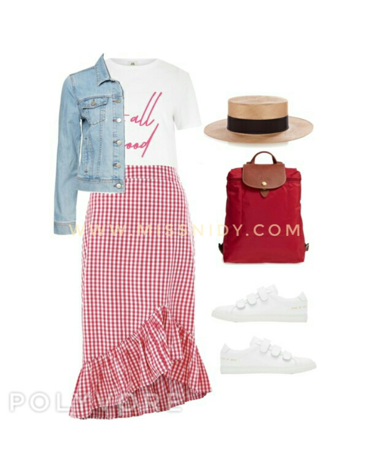 how to wear gingham skirt in spring