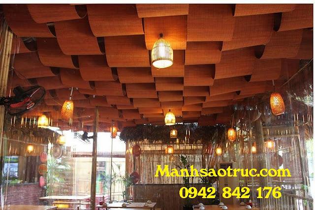 ốp trần rèm tre trúc nhà hàng ăn tại Bình Dương