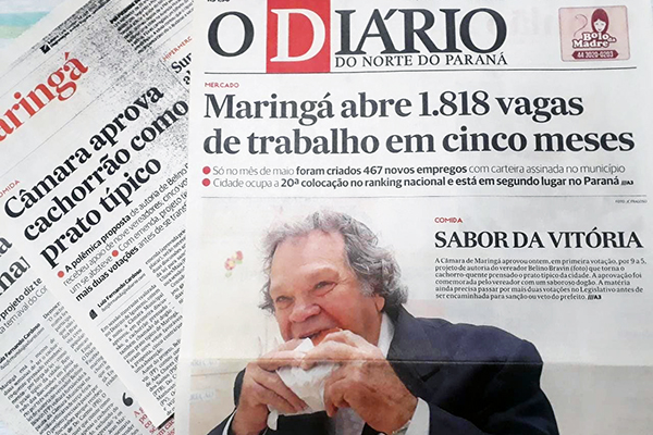 Vereador Belino Bravin na capa de O Diário