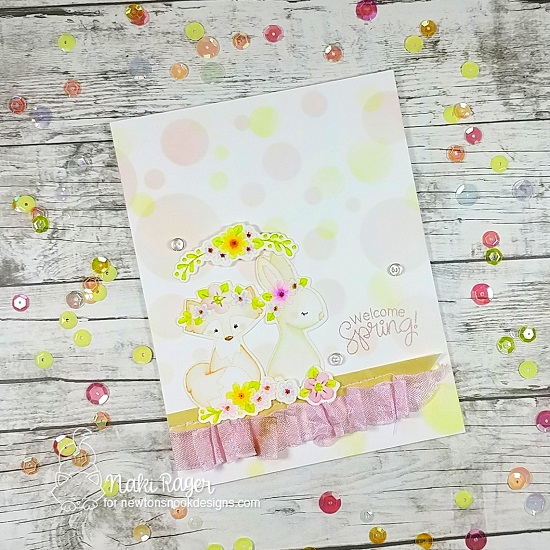 Spring bunny and fox card with flowers by Naki Ragerl | Woodland Spring Stamp Set and Bokeh Stencil Set by Newton's Nook Designs #newtonsnook #handmade