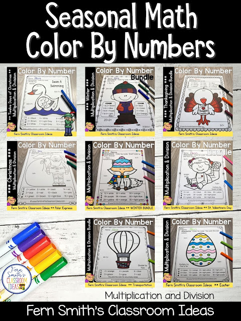 Click Here to See My Best Selling Multiplication and Division Seasonal Color By Numbers