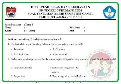 Soal UAS / PAS Kelas 5 Tema 5 Kurikulum 2013 Revisi 2018