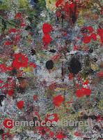Ténèbres, acrylique sur papier 7 x 5, thème abstrait par Clémence St-Laurent