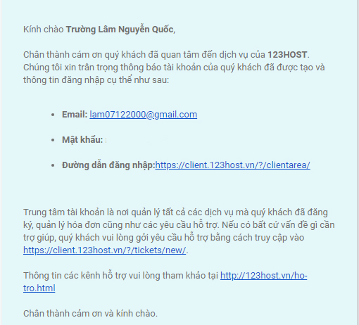 Mail của 123host
