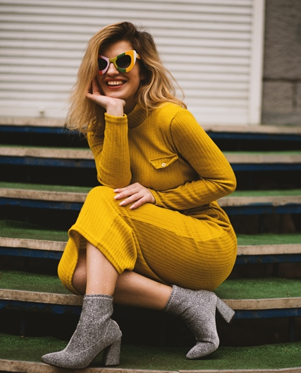 women, yellow dress, smiling, cold weather, 5 Dresses Perfect for Cold Weather, Winter Wear, Dress For Cold Weather, How To Dress For Winter, Fashion