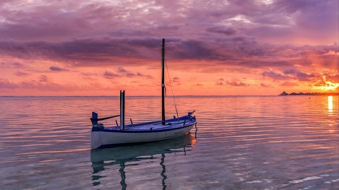 Linda Paisagem Céu Rosado no Mar
