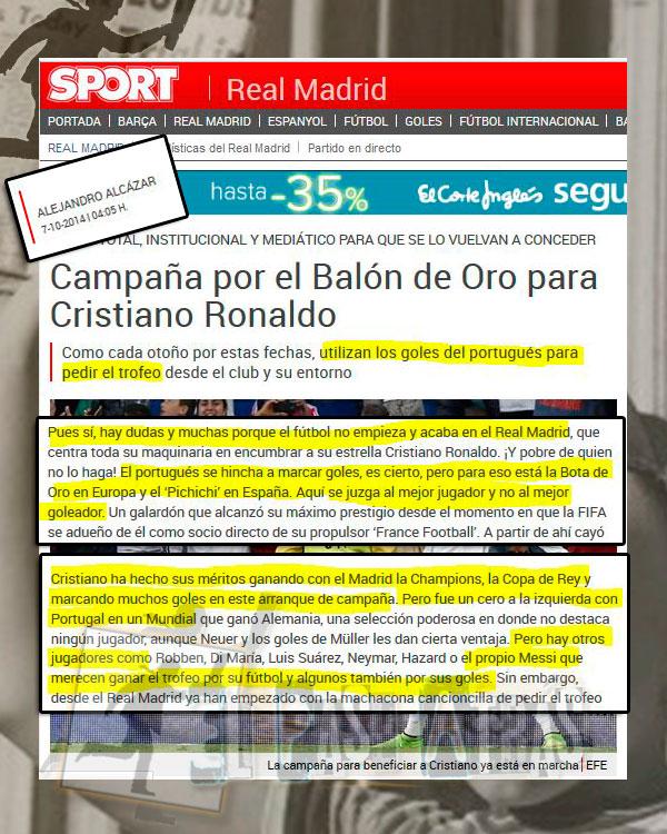BDO Cristiano Ronaldo y los méritos en la prensa catalana