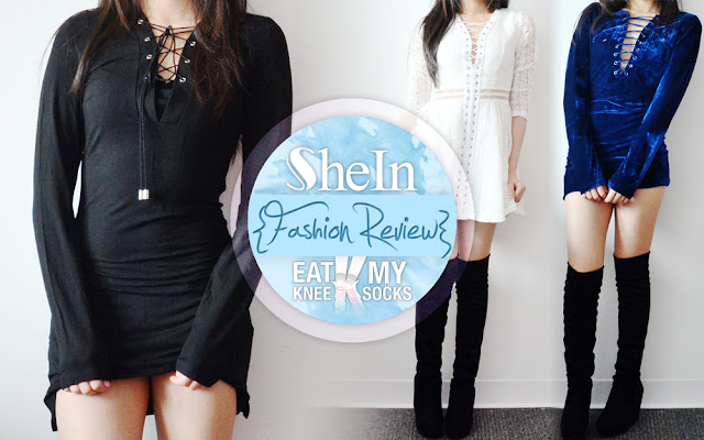 Here's part 2 of my back-to-back SheIn fashion reviews! I decided to go with a lace-up dress theme this time, so I picked out three items to review, including a black long sleeve lace-up dress, a white flared lace-up cutout dress, and a blue velvet lace-up bodycon dress. -Eat My Knee Socks/Mimchikimchi