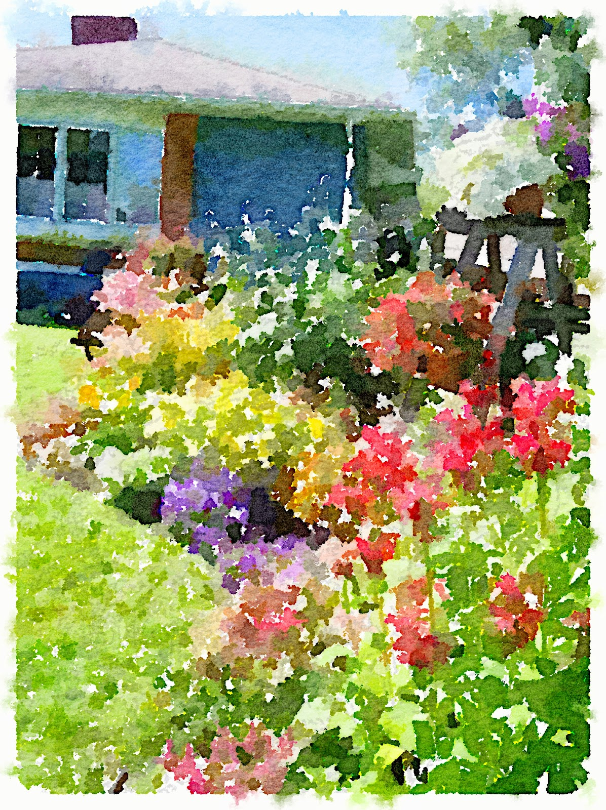 Waterlogue Front Yard Flower Border www.organizedclutterqueen.blogspot.com