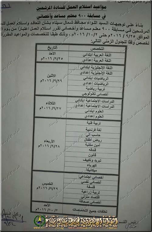 اعلان وزارة التربية والتعليم عن مسابقة 900 معلم مساعد واخصائى 24 / 9 / 2016