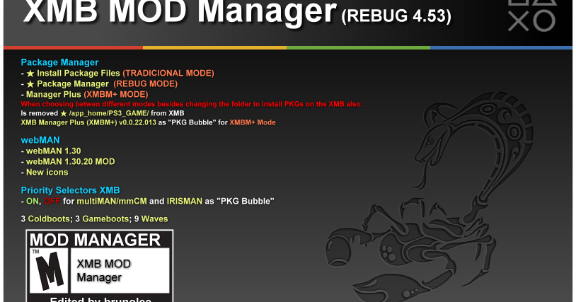 XMB MOD Manager (REBUG 4 53) By Brunolee | PS3Montreal