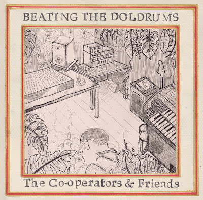 The pencil drawing features a figure hunched over playing a melodica in a recording studio with instruments and gear strewn about, and plants growing everywhere.