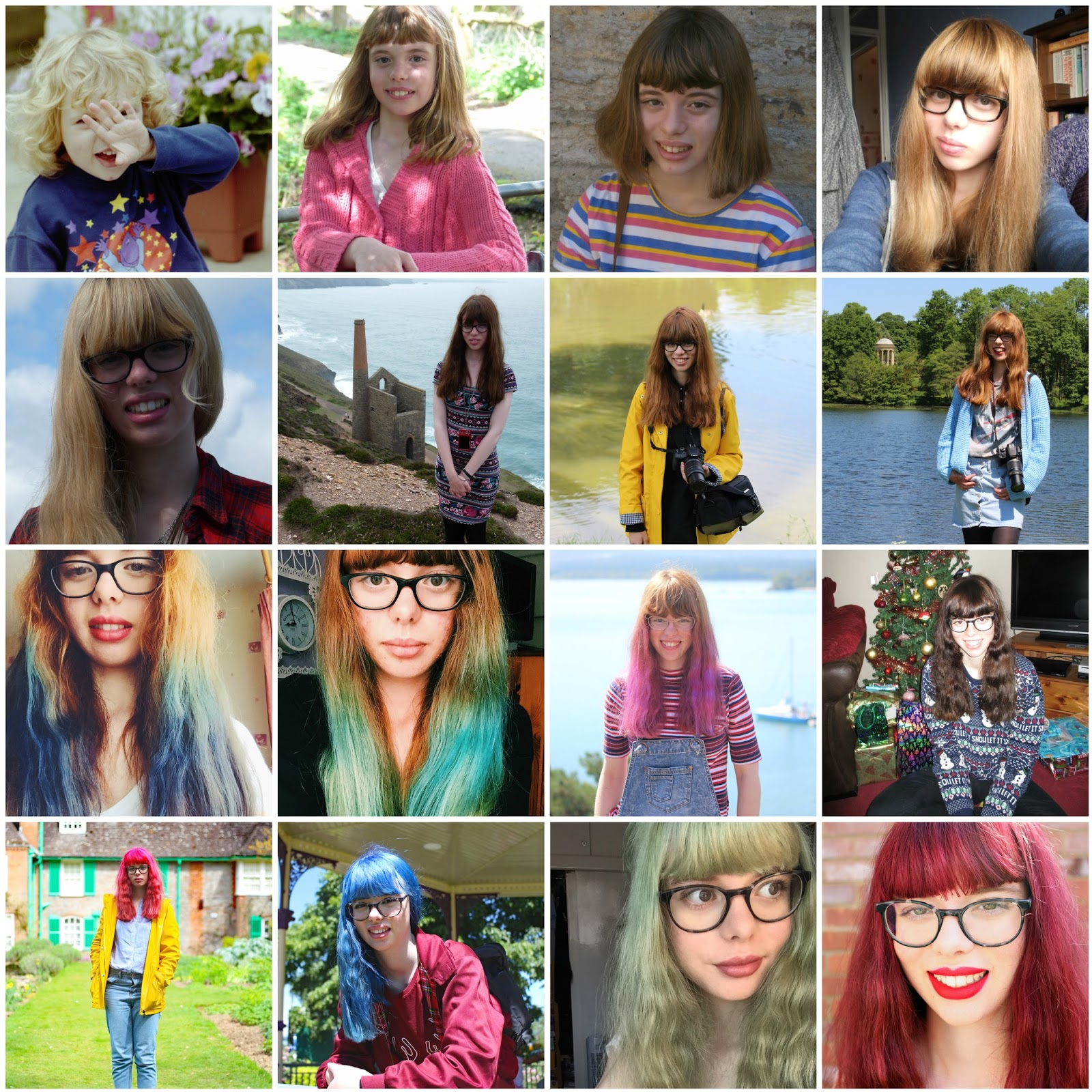 My Hair Timeline (2003-2017) pink blue green red dip dyed blonde black brown copper bleached short long bob fringe