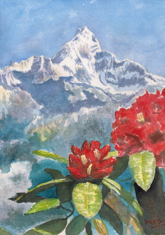 Machhapuchhre (Fishtail) and Rhododendron