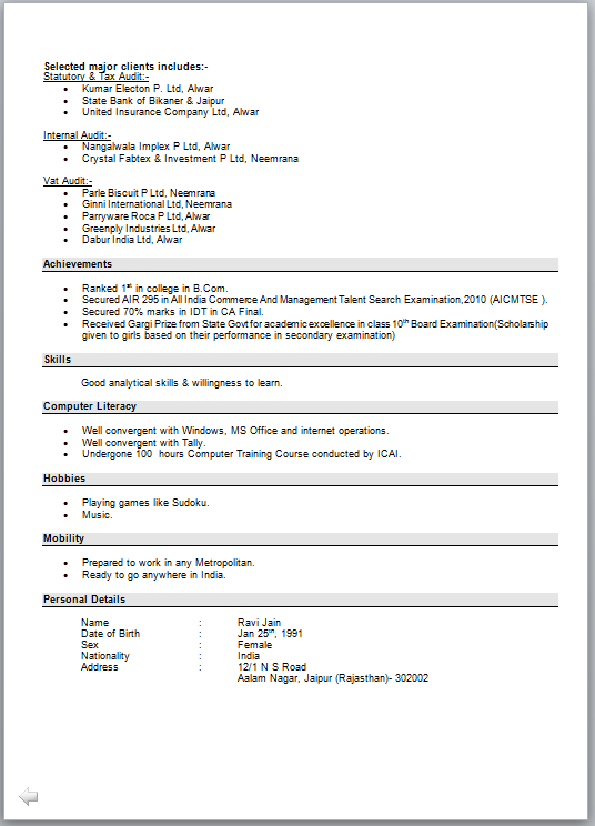 cover page for resume example