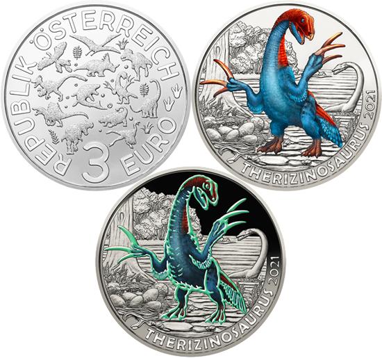 Austria 3 euro 2021 - Therizinosaurus cheloniformis