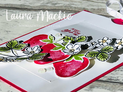 stampin up sweet strawberry pop up slider card