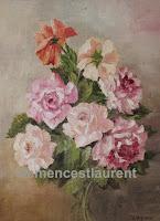 Mes roses, huile 12 x 9 par Clémence St-Laurent, 1972 - gerbe de roses aux tons pastel