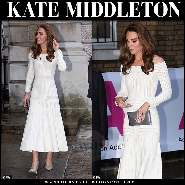 Kate Middleton Duchess of Cambridge in white off shoulder barbara casasola dress and silver glitter jimmy choo romy pumps. Royal family style 2019