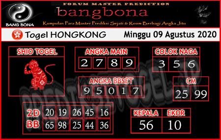 Prediksi Bangbona HK Minggu 09 Agustus 2020