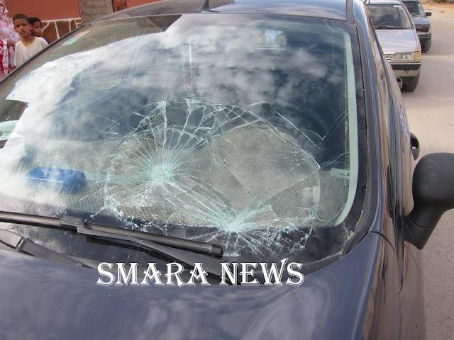 """تهشيم و تكسير الزجاج الأمامي لسيارة المدافعة الصحراوية عن حقوق الإنسان """" الغالية الدجيمي """""""