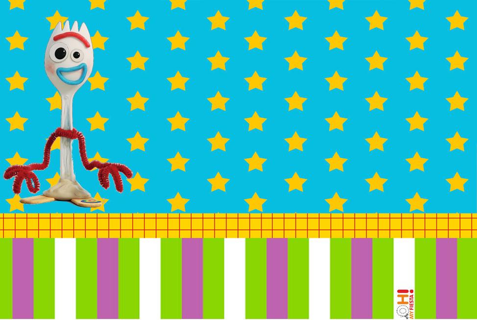 Toy Story 4 Con Forky Invitaciones Y Etiquetas Para Candy