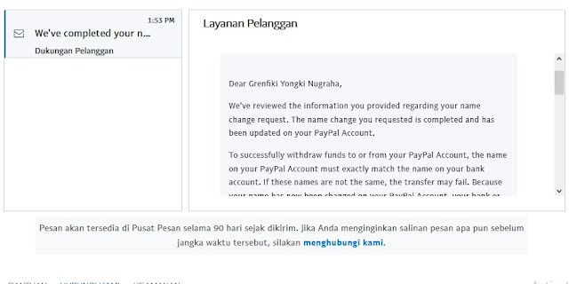 Cara mengganti nama di rekening paypal