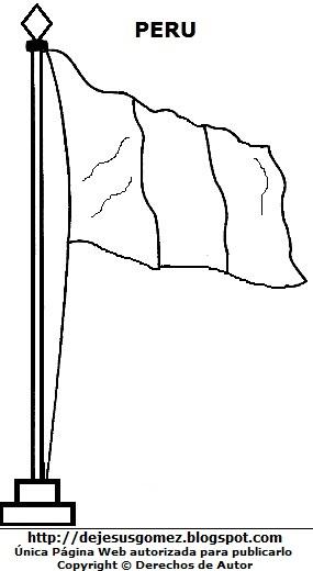 Imagen: Bandera del Perú para colorear pintar imprimir. Dibujo de bandera peruana hecho por Jesus Gómez