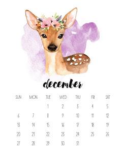 Animales en Acuarela: Calendario 2020 para Imprimir Gratis.