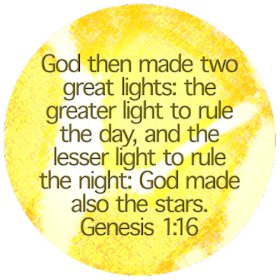 Genesis 1:16 illustration text on sun with tree for lenten snapshots rules word prompt