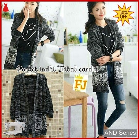 AND406 Cardigan Wanita Pocket Indhi Tribal BMGShop
