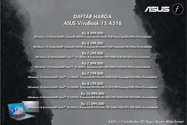 Daftar harga ASUS VivoBook 15 A516