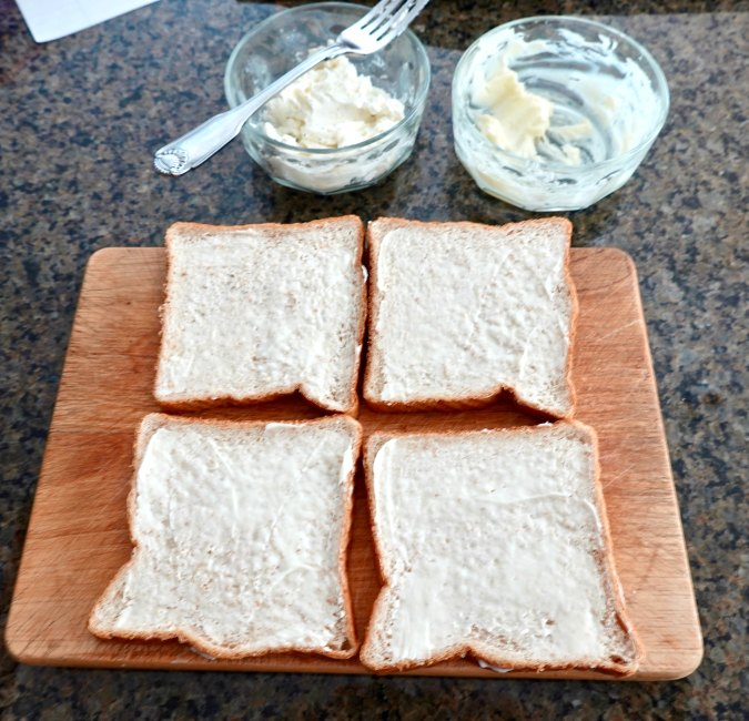 Tea sandwiches ready to assemble
