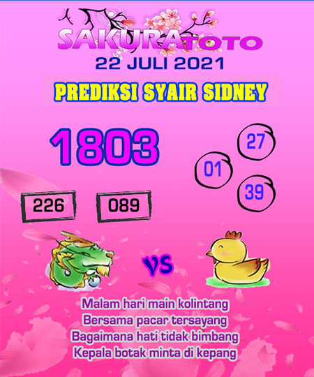 Prediksi Sakuratoto Sydney Kamis 22 Juli 2021