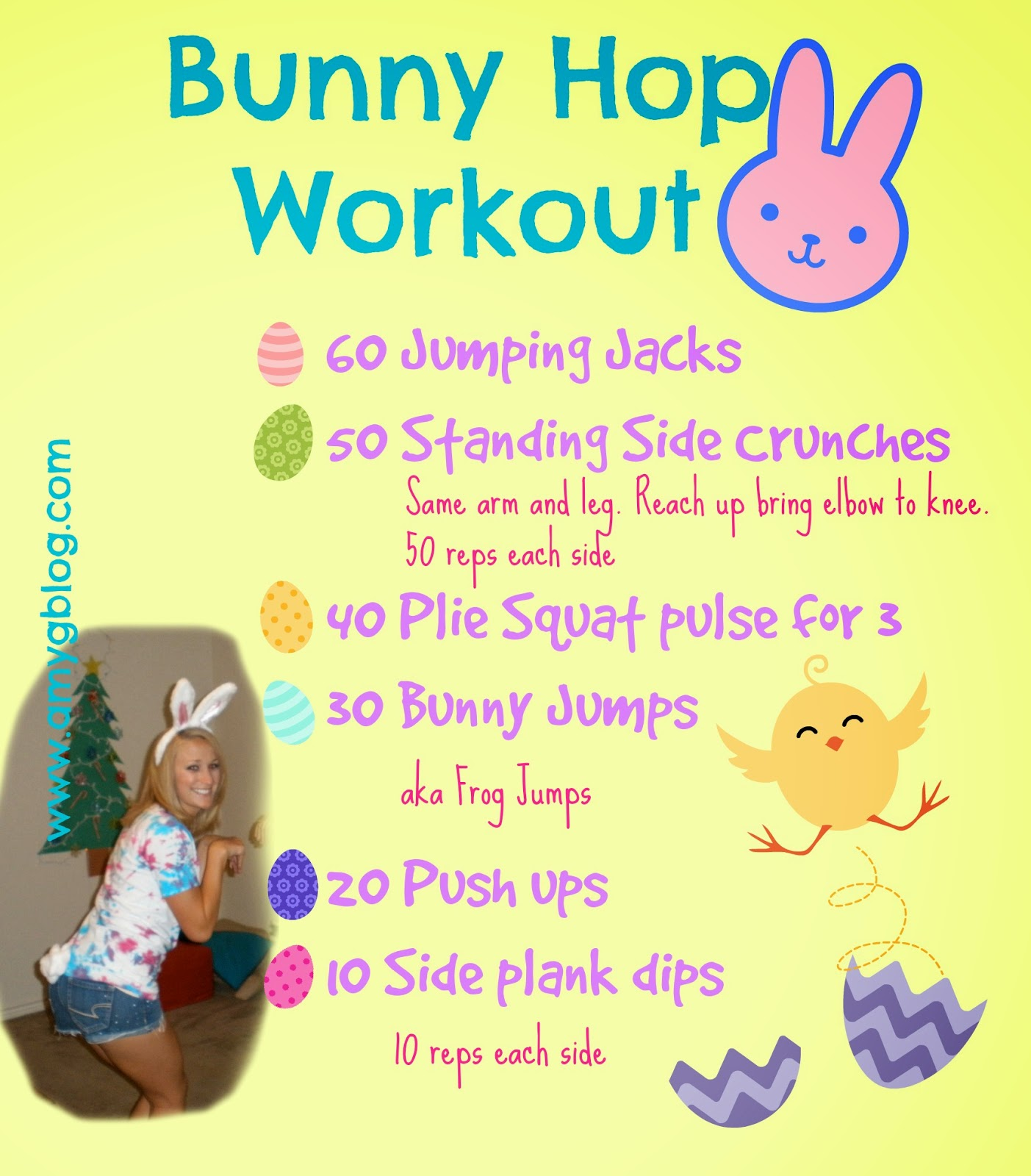 Bunny Hop Workout - an Easter themed workout to help you burn some calories this holiday!