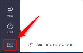 """زر """"تنزيل التطبيق"""" في Teams عبر الإنترنت."""