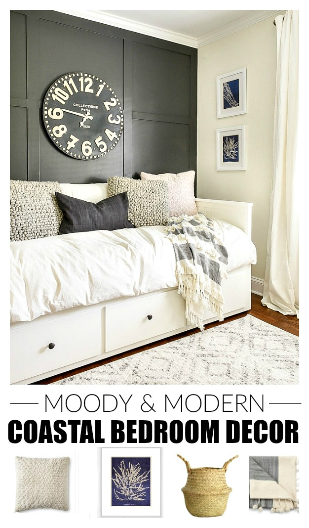 Moody and Modern coastal bedroom decor