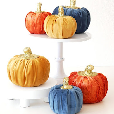 DIY No-Sew Velvet Pumpkins