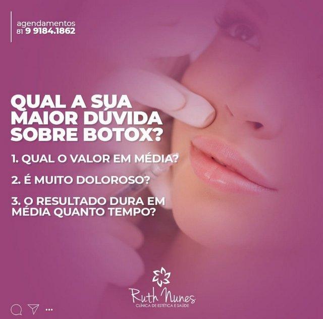 Clínica Ruth Nunes tira suas dúvidas sobre aplicação de Botox