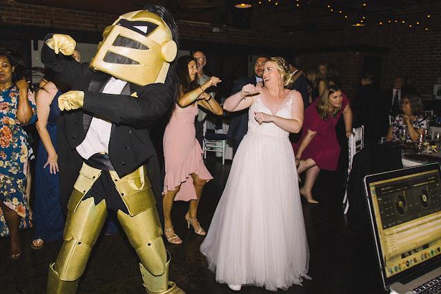 ucf knightro dancing at wedding reception