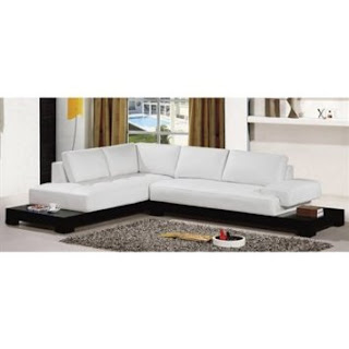 Sectional Sofa By TOSH Furniture  (White Bonded Leather/Hardwood Frame)