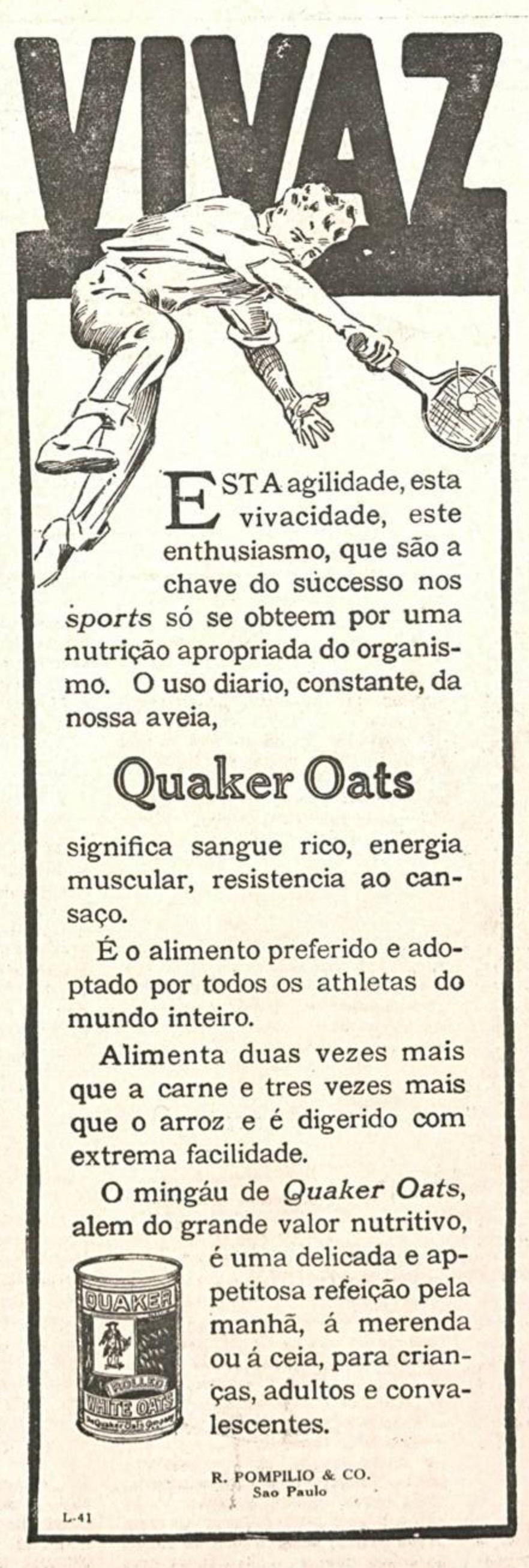 Propaganda antiga da Quaker promovendo sua aveia em 1924