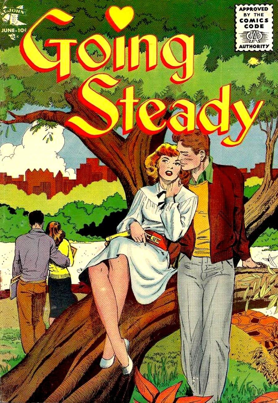 Matt Baker st. john golden age 1950s romance comic book cover / Going Steady #13