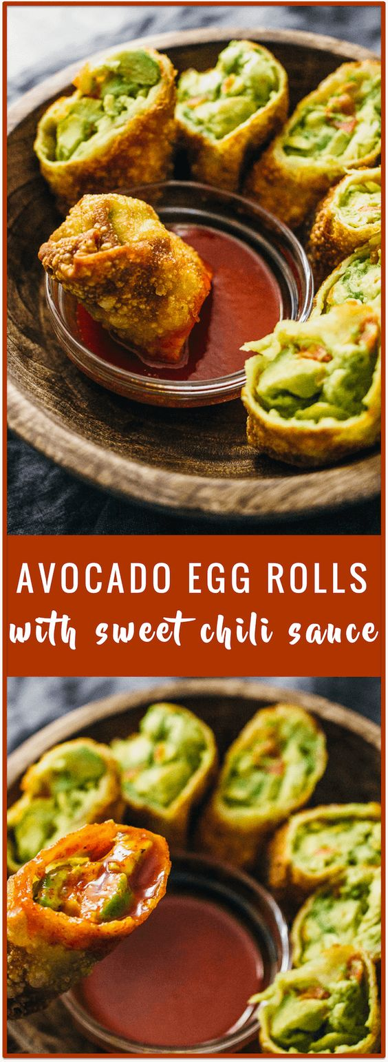 Avocado egg rolls with sweet chili sauce (vegan) - These avocado egg rolls are fried to crispy perfection and served with a tasty sweet chili sauce. This recipe is vegan and a crowd favorite for party appetizers.