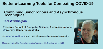 Better e-Learning Tools for Combating COVID-19 by Tom Worthington