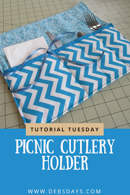Homemade Picnic and Camping Roll Up Utensil Holder Sewing Project